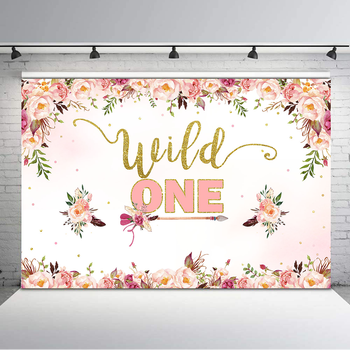 NeoBack Wild One Backdrop Baby Shower Background Pink Flowers Feather Arrow 1st Birthday Banner Photography Backdrops