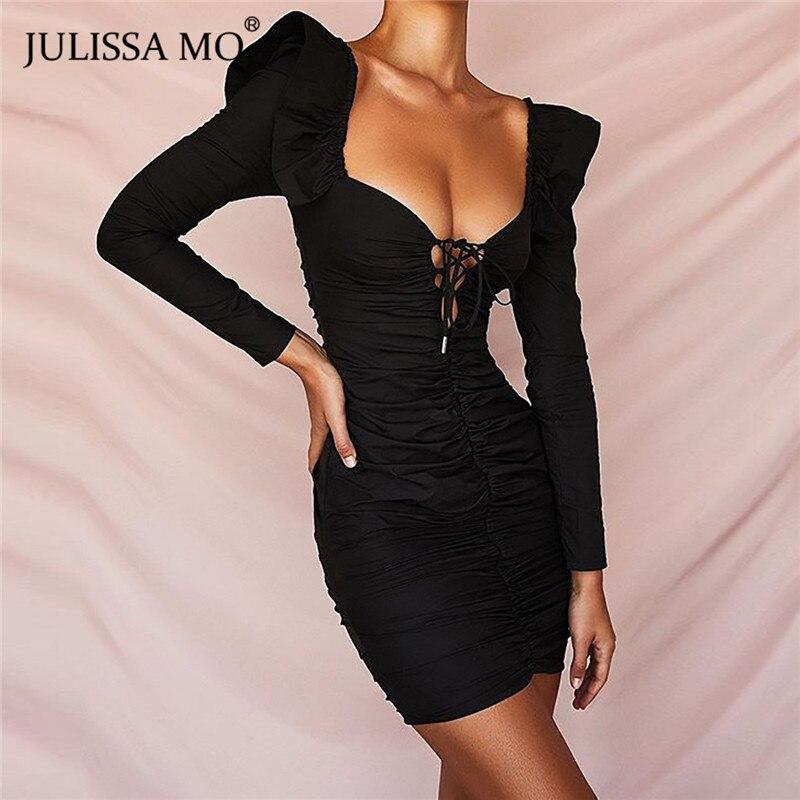JULISSA MO White Elegant Ruffles Autumn Dress Butterfly Sleeve V-neck Bodycon Dress Sexy Cut Out Drawstring Mini Party Dresses