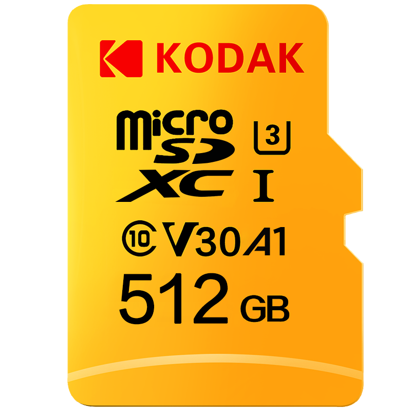 Original Kodak U3 A1 V30 Class 10 MicroSDXC/SDHC Memory TF Flash Card 256GB 128GB 64GB 32GB For Video And Mobile Storage
