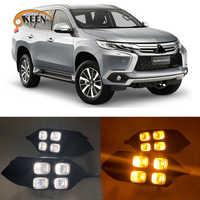 Luz LED de conducción diurna DRL blanca y amarilla, accesorios para coche, antiniebla, para Mitsubishi Pajero Sport, 2016, 2017, 2018, 2 uds.