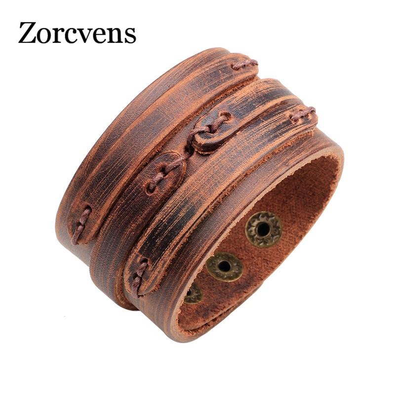 Modyle 2020 New Brown Genuine Leather Bracelet With Alloy Buckle Adjustable Fashion Men Bracelets Jewelry