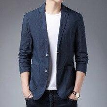 Costume Blazer Suit-Jackets Americana Oversize Long-Sleeve Cotton Masculino Homme Leisure