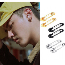 man earring stainless steel Punk Unique Design Paperclip Safety Pin Stud Fashion Earrings Elegant Women Man  Rock Piercing
