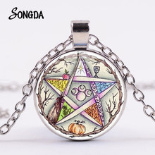 Supernatural-collar de pentagrama esoterico, colgante de GEMA de cristal de estrella, Luna Triple, árbol de la vida, amuleto de cadena larga en 4 colores