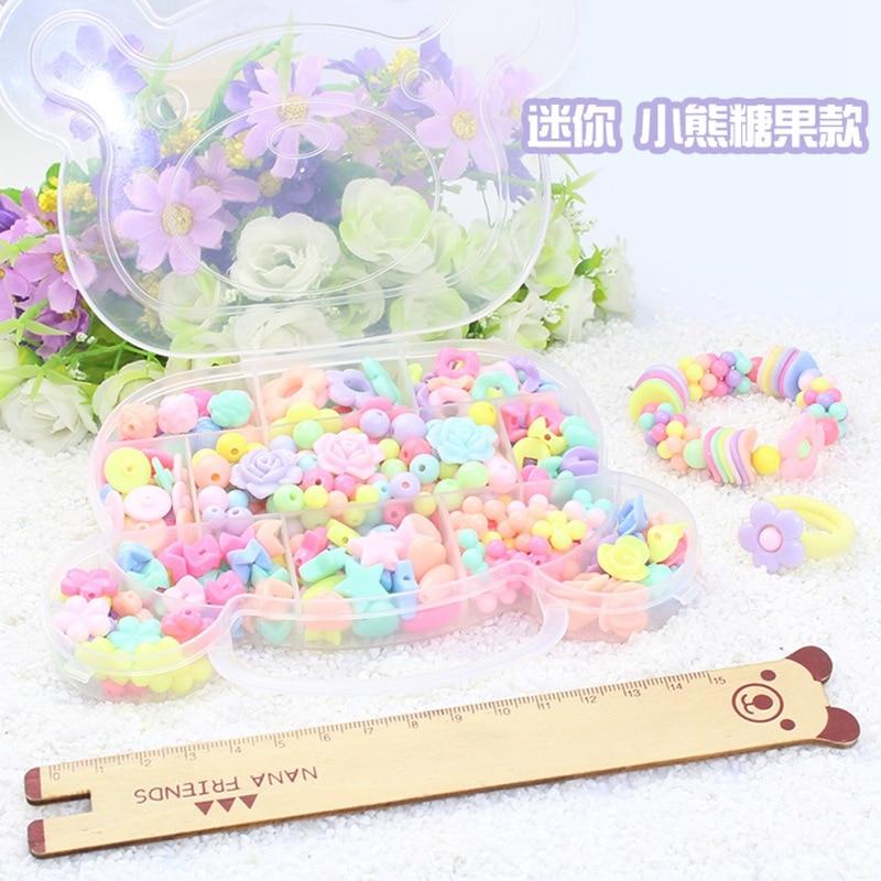 Children GIRL'S Handmade Beaded Bracelet Educational Toy DIY Wear Beads Bracelets Necklace Weak Sight Training Material Box Toy