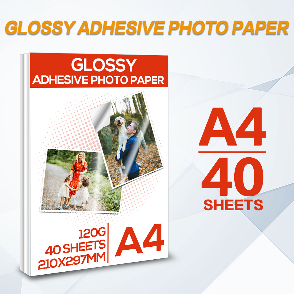 40 Sheets Glossy Adhesive photo paper A4 Self Adhesive Inkjet Printing paper for Inkjet Printers High Glossy Photographic Paper