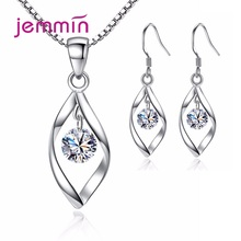 Delicate Korean Trend Bridal Jewelry 925 Sterling Silver Pendant Necklaces Earrings Sets For Women Cubic Zirconia Ear Rings