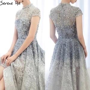 Image 2 - Dubai luxe argent asymétrique robes de soirée 2020 col haut perles paillettes robe formelle sereine colline LA60757