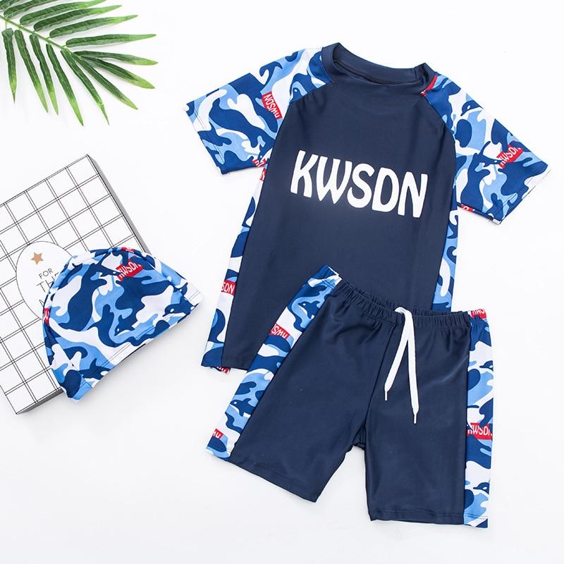 KID'S Swimwear BOY'S Swimming Trunks Set Big Boy Fat Boy Split Type Tour Bathing Suit South Korea Baby Sun-resistant Swimwear