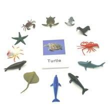 Игрушки Монтессори карты и фигурки океана с животными обучающие