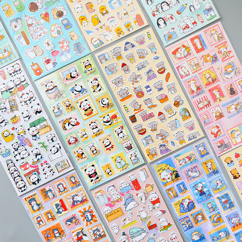 1 Pcs Cute Cartoon Animal Stamp Journal Decorative Stickers Scrapbooking Stick Label Diary Stationery Album Cat Panda Stickers