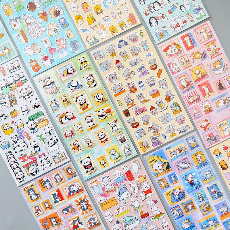 1 Pcs Cute Cartoon Animal Stamp Journal Decorative Stickers Scrapbooking Stick Label Diary Stationery Album Cat Panda Stickers