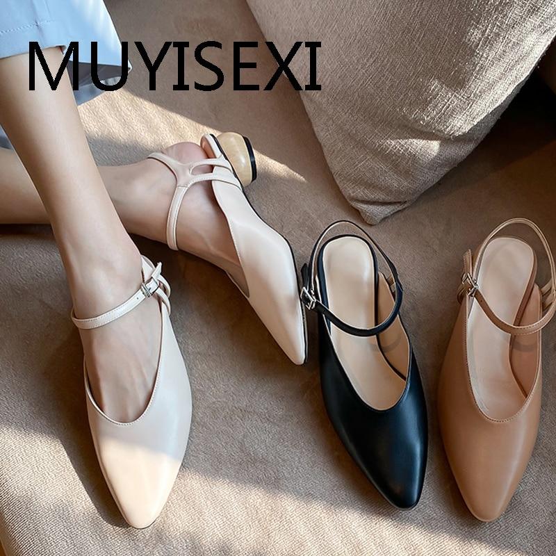 Slingbacks genuine leather low heel shoes fashion women sandals round toe pretty girl shoes beige apricot black NIX15 MUYISEXI