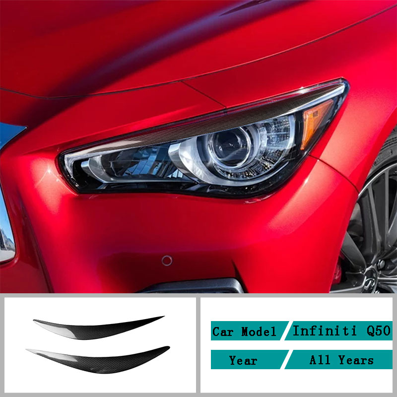Carbon Fiber Car Accessories Interior Headlights Eyebrow Modification Decals Cover Trim Stickers For Infiniti Q50 Q60 All Years