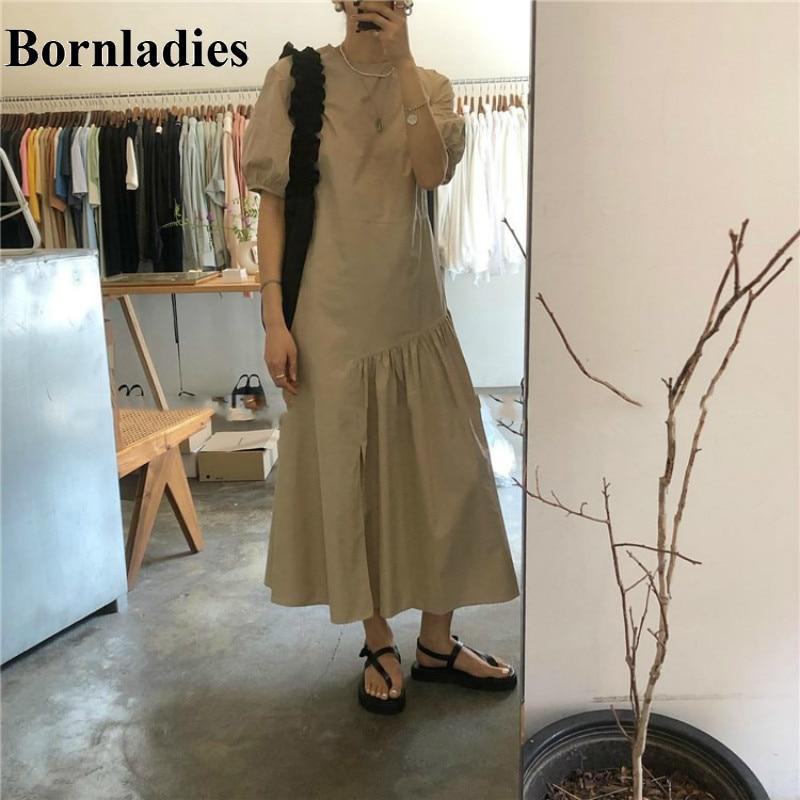 Bornladies verano Irregular longitud vestido largo elegante 2020 Split dobladillo pliegues Puff manga Vintage vestido de Color sólido