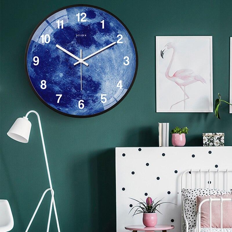 14 pouces horloge murale muet veilleuse salon horloges lumineuses moderne Quartz décor chambre horloge rougeoyante pour la maison - 4