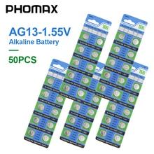 PHOMAX 1.55V AG13 50 개/갑 시계 알카라인 버튼 배터리 LR44 357 S76E SP76 SG13 V303 AG 13 시계 계산기 장난감 배터리