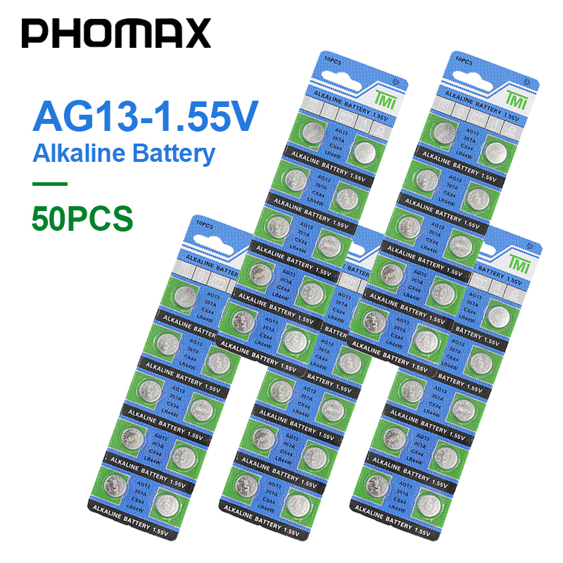 PHOMAX 1.55V AG13 50pcs / Pack Clock Alkaline Button Battery LR44 357 S76E SP76 SG13 V303 AG 13 Watch Calculator Toy Battery