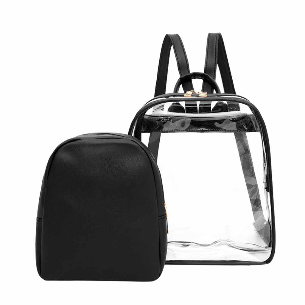 8b13160b28e7 Women's Backpack Clear Plastic See Through Security Transparent BackpackS  Bag Travel Bag mochilas mujer 2019 #T3G