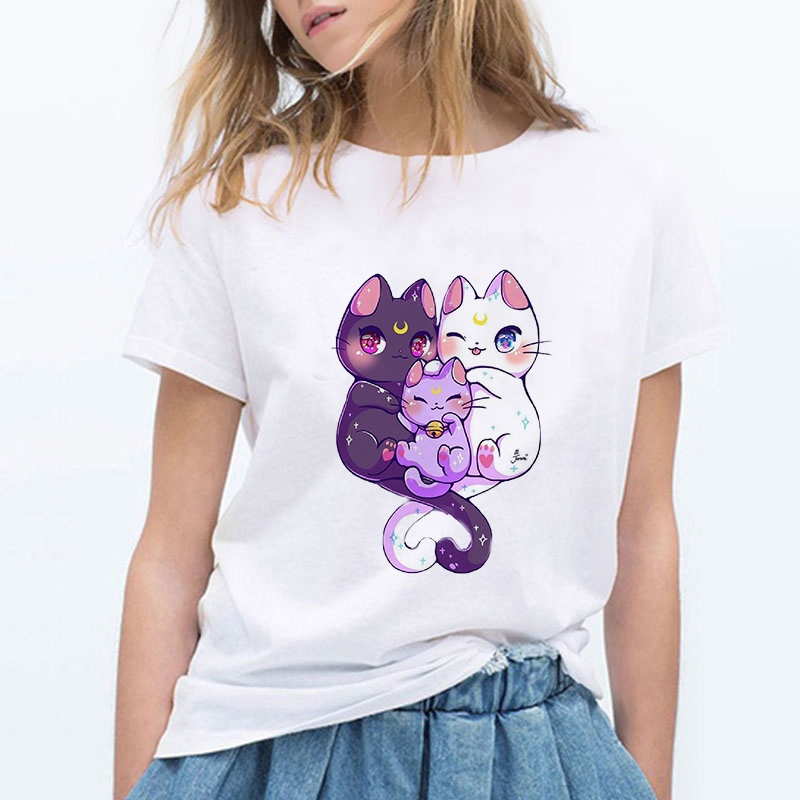 Cute Cat's Family Sailor Moon Summer New Fashion T Shirt Women Harajuku Short Sleeve Cartoon Tshirt