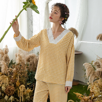 Spring Breast Feeding Sweet Maternity Nursing Sleepwear Cotton with Lace Nightwear Clothes for Pregnant Women Pregnancy Pajamas new maternity clothes pregnancy sleepwear nursing pajamas set breast feeding nightwear thick sleepwear for fall winter