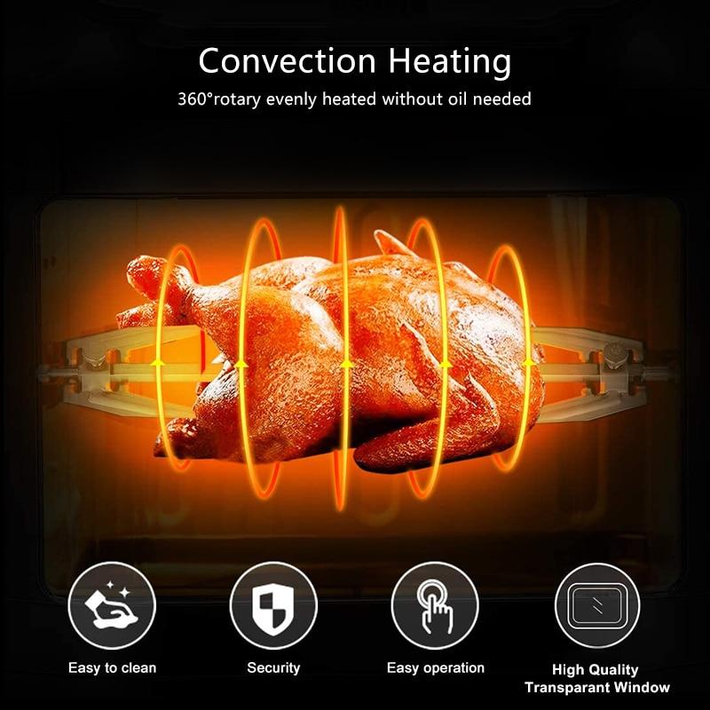 Image 3 - BioloMix 12л 1600 Вт воздушная фритюрница духовка Тостер гриль и Дегидратор с светодиодный цифровой сенсорный экран, 16 в 1 столешница духовкаАэрофритюрницы    АлиЭкспресс