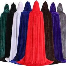 Gotik kapşonlu leke pelerin Wicca Robe cadı Larp pelerin kadın erkekler cadılar bayramı kostümleri vampir fantezi parti boyutu S M