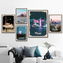 Póster Artístico en lienzo de paisaje Vintage nórdico Estados Unidos Seattle Miami Los Angeles Ciudad de Chicago decoración de pared para el hogar (sin marco)