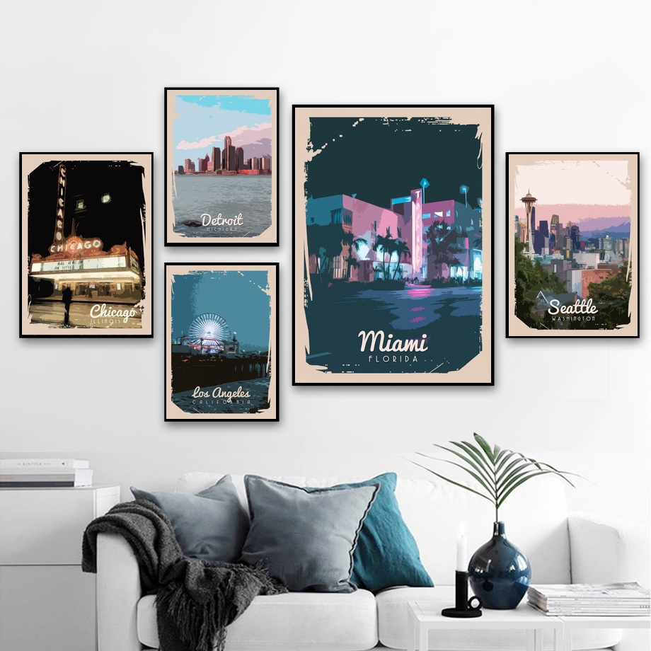 Abstract USA Nordic Vintage Seattle Miami Los Angeles Chicago City Landscape Art Canvas Poster Home Wall Decor (No Frame) image
