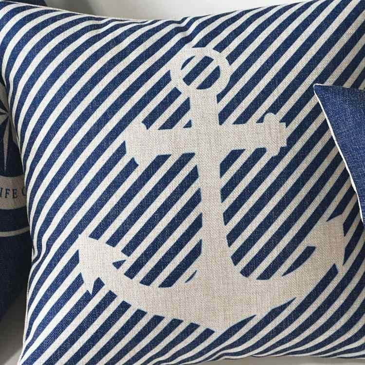 البحر الأبيض المتوسط الأزرق البوصلة مرساة وسادة غطاء المنزل وسائد زخرفية البحرية السفينة كيس وسادة كتاني غطاء الوسادة
