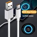 Schnelle Lade Typ-C Kabel für OPPO Realme X 5 6 X50 X3 X5 Pro X50m X50t V5 6,5 EINE 65W Super VOOC USB C Kabel C3 Quick Charge 3,0