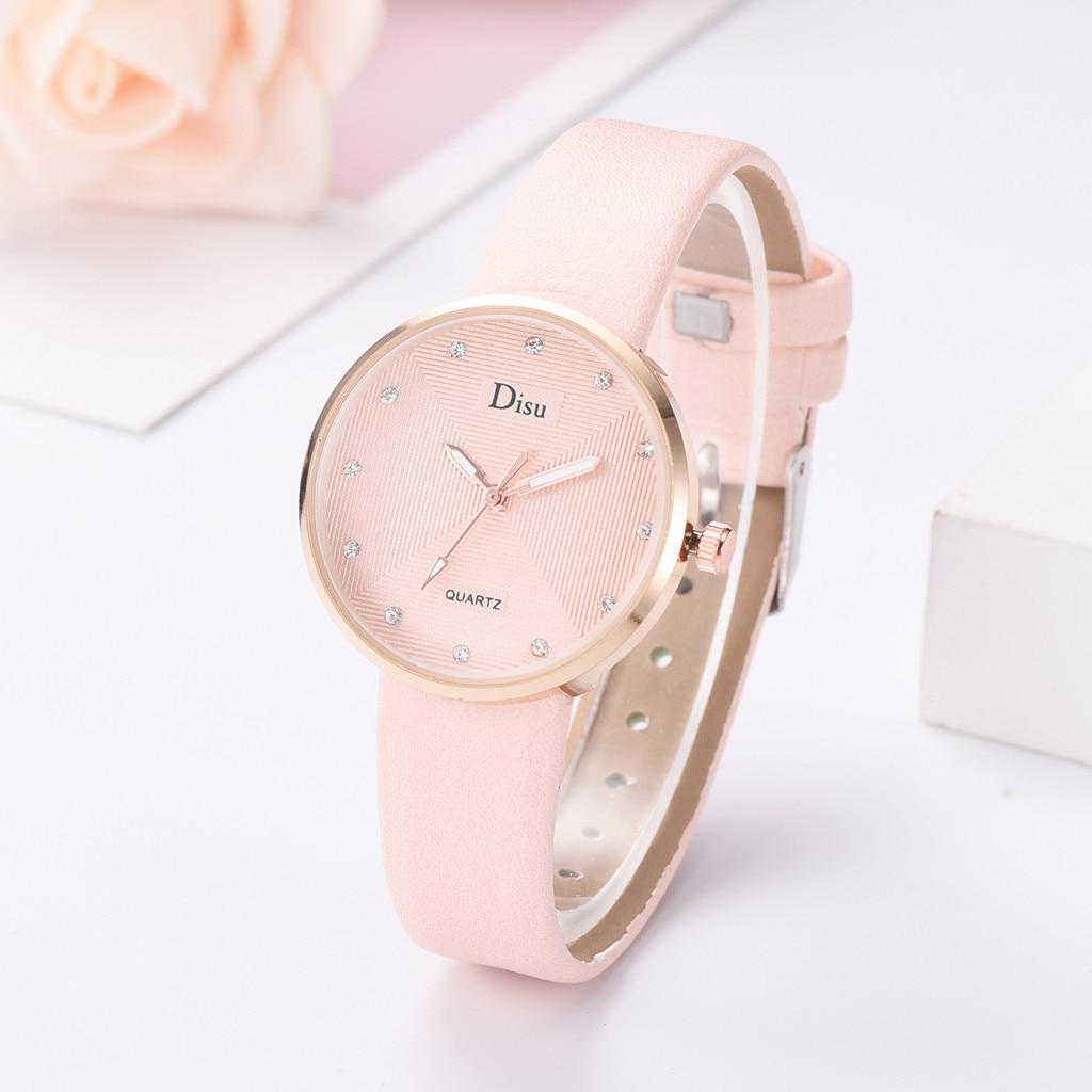 Women Watches Fashion High Quality Ladies Quartz Wristwatch Rhinestone Thin Dial Leather Strap Clock Simple Relogio Feminino2019
