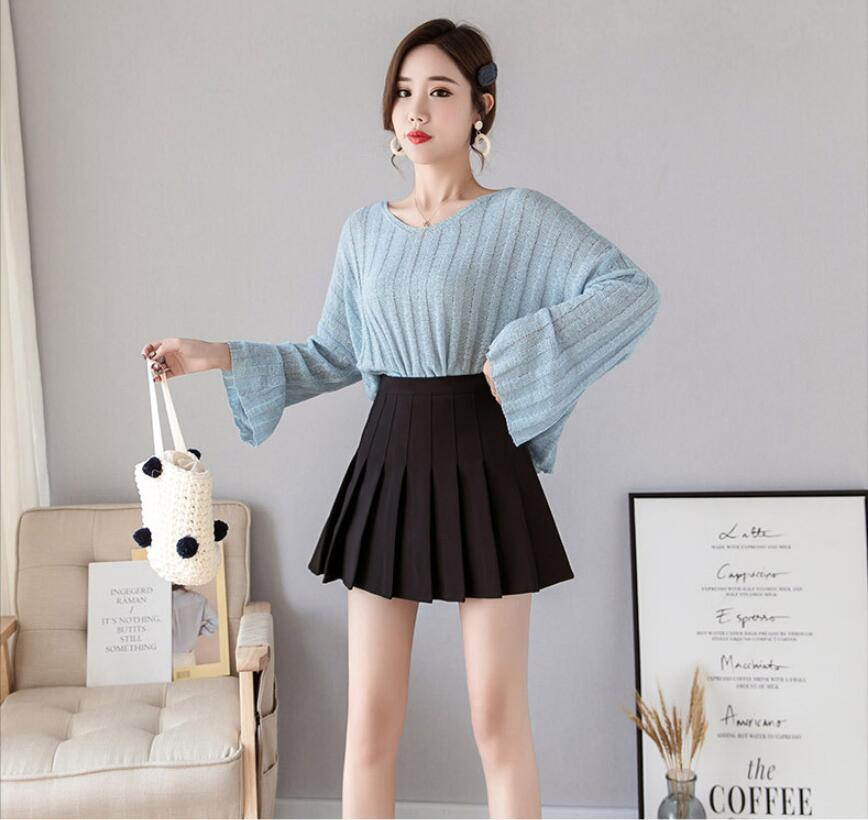 Ha50c1d02c1c44b1791324748f0f2e0ebU - Sexy Women Pleated Skirt Lovely Girl School Uniform Skirt Solid High Waist Mini Skirts Cute Female Pleated Mini Skirts