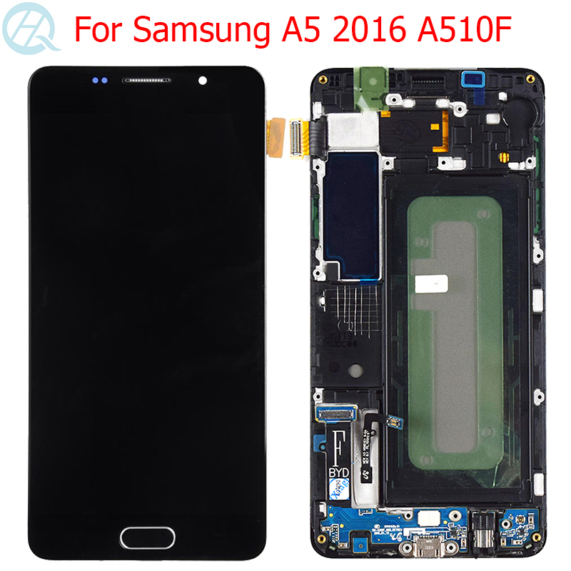 "Original AMOLED For Samsung Galaxy A5 2016 LCD Display With Frame 5.2"" SM-A510F A510 A510F/DS Display Touch Screen Assembly"