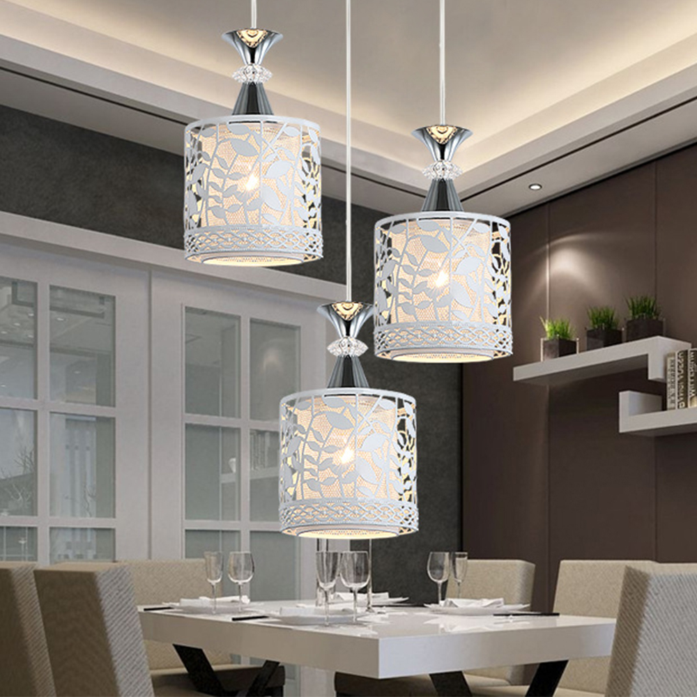 Modern Loft Hanging Pendant Lights Hollow Carving Iron+Crystal  Home Decor Lighting Pendant Lamp Living Room Nordic Luminaires