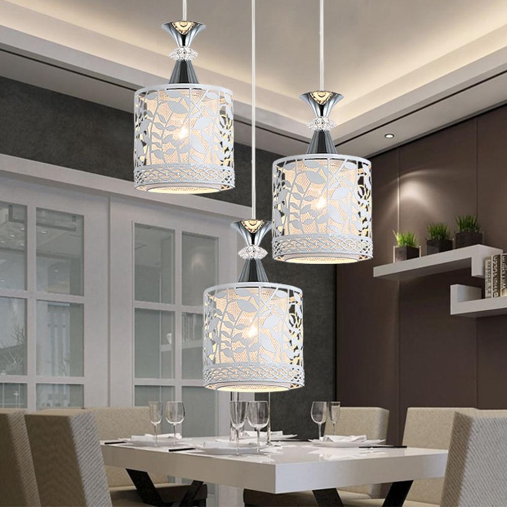 Modern Loft Hanging Pendant Lights Hollow Carving Iron+Crystal  Home Decor Lighting Pendant Lamp Living Room Nordic Luminaires