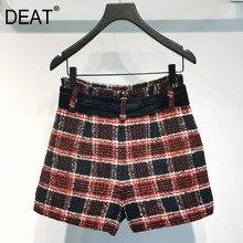 Shorts Women Streetwear-Sashes Matching High-Waist Winter Fashion New DEAT And Woolen