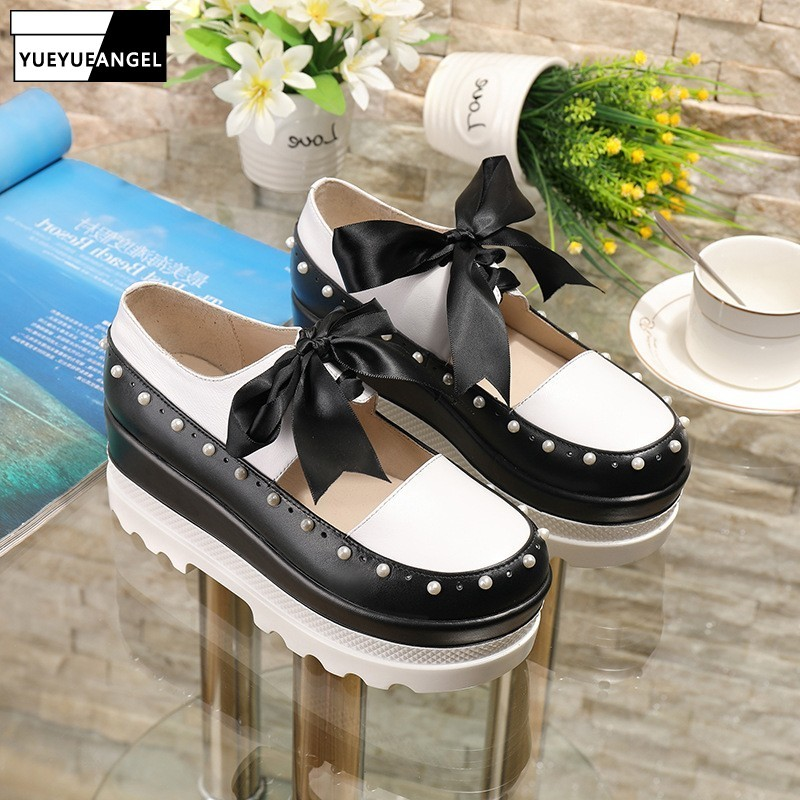 Autumn Women Bowknot Lace Up Wedges Shoes Hollow Out Genuine Leather Platform Shoes Color Mixed Pearls Bead Sweet Ladies Pumps