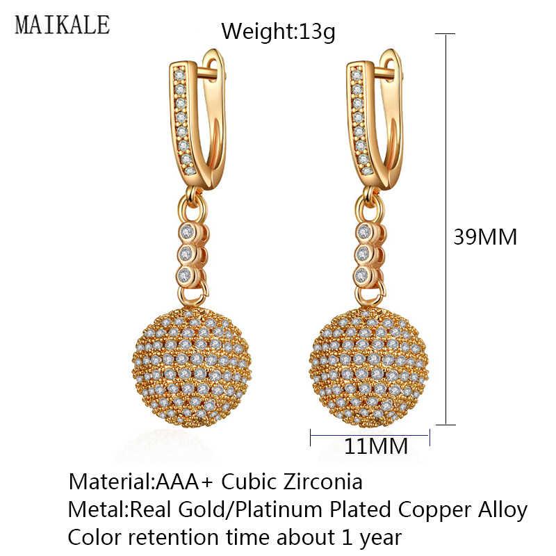 Женские серьги-подвески с фианитом MAIKALE, сережки золотого и серебряного цвета в форме диско-шара с украшением из черного циркона, подарочное ювелирное украшение