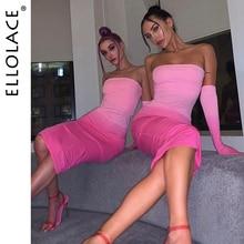 Ellolace Fashion Tie Dye Midi Dress Women Elegant Slim Female Strapless Dresses Pink 2019 New Lady Backless with Sleeve
