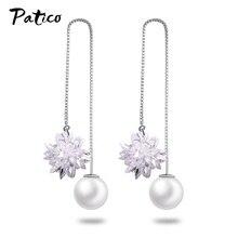 Boutique Ice Flower Women 925 Sterling Silver Drop Earrings Piercing Korean Sweet Thick Hook Hanging Ear Rings Wedding Jewelry