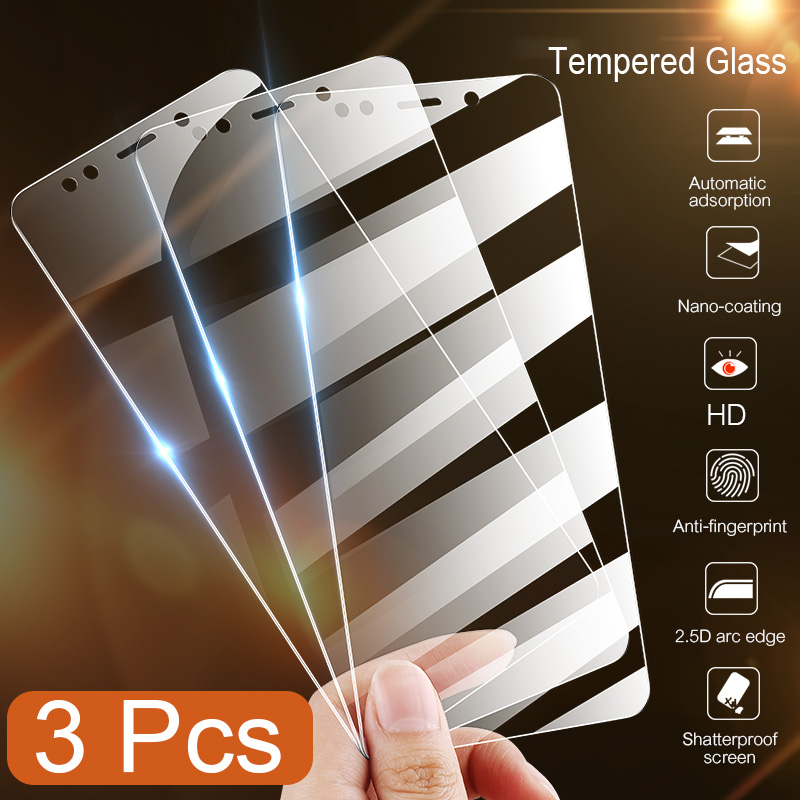 3Pcs Full Cover Tempered Glass For Xiaomi Redmi Note 8 8T 7 6 5 Pro 8A 7A Screen Protector For Redmi 6A Protective Glass Film