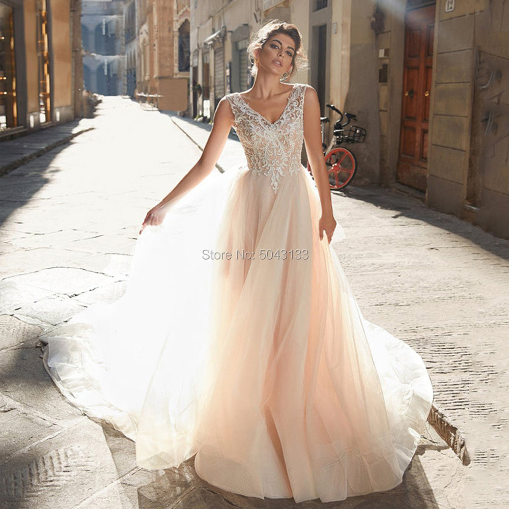Exquisite Charming Wedding Dresses 2020 Chic Lace Appliques V Neck Backless Floor Length Tulle Bride Wedding Dress Sleeveless