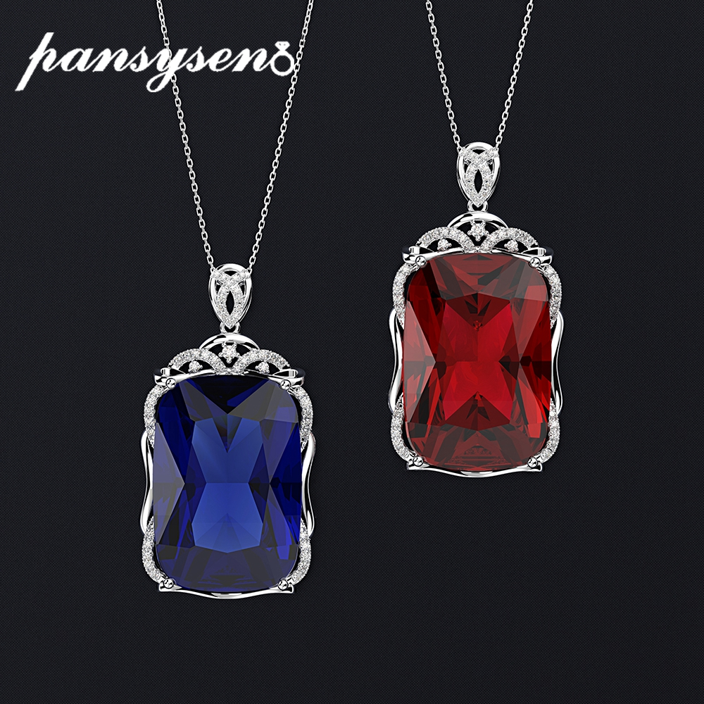 PANSYSEN Luxury Vintage King Size Women Silver 925 Jewelry Pendant Necklaces 22x30MM Ruby Sapphire Real Gemstone Necklace Gifts