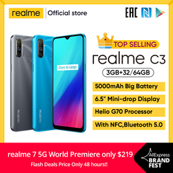 realme C3 Unlockphone 3GB RAM 64GB ROM Mobile Phone Helio G70 12MP Camera 6.5