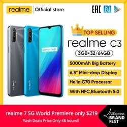 Realme c3 desbloqueio 3gb ram 64gb rom telefone móvel helio g70 12mp câmera 6.5