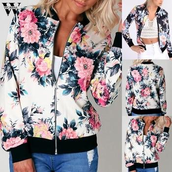 Womail jacket Women Fashion Floral Zipper Coat Basic Jacket Casual Coat Outerwear Sport Work Office Bomber Baseball Coat 87