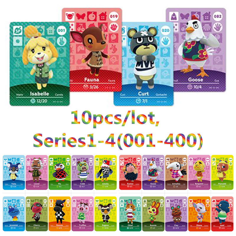 10pcs/lot <font><b>Amiibo</b></font> Animal Crossing New Horizons <font><b>Amiibo</b></font> <font><b>Card</b></font> Set Work For NS Switch Games Series 1 2 3 4 image