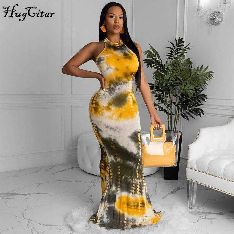 Hugcitar 2020 halter sleeveless tie dye print bodycon long dress summer women fashion streetwear outfits party elegant clothing