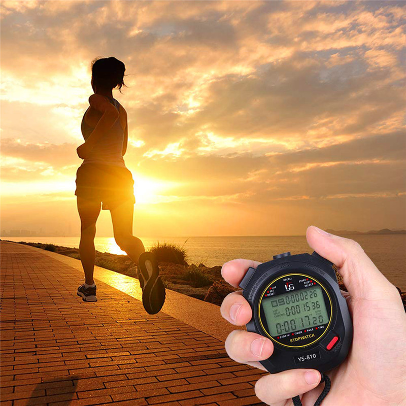 New Digital Stopwatch Sports Timer Handheld LCD Large Display Silence Waterproof 30/60/120 Memories Lap For Track Field Training